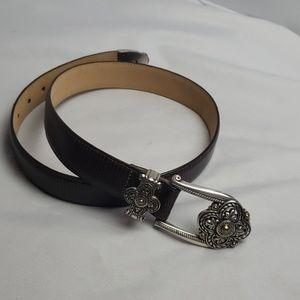 Brighton leather belt, lg silver buckle, sz M/L